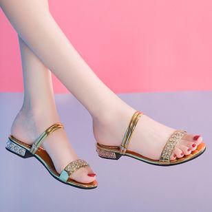 Women's Rhinestone Flats Chunky Heel Sandals Slippers_1