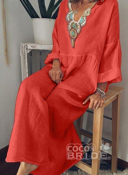 Sky Blue Arabian Floral Tunic V-Neckline Shift Dress_2