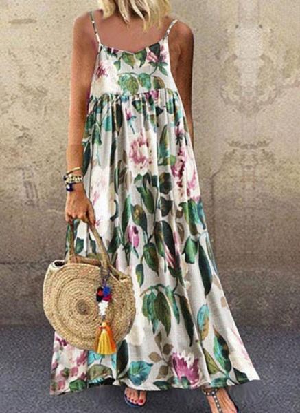 Green Plus Size Slip Floral Camisole Neckline Casual Maxi Plus Dress_1