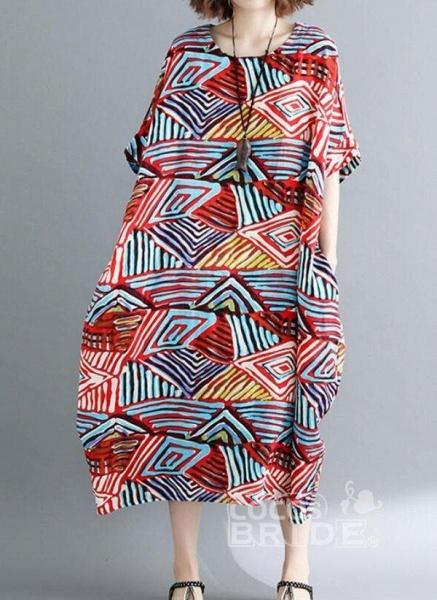 Red Plus Size Tunic Color Block Round Neckline Casual Pockets Plus Dress_4