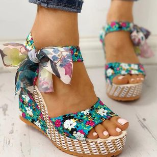 Women's Bowknot Lace-up Flower Slingbacks Cloth Wedge Heel Sandals_5