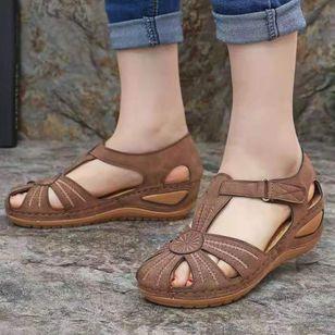 Women's Buckle Hollow-out Flats Flat Heel Sandals_1