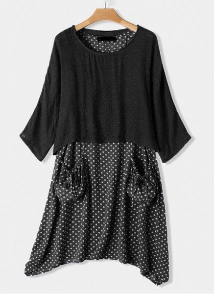 Casual Polka Dot Tunic Round Neckline Shift Dress_3