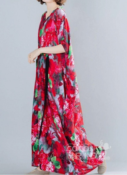 Red Plus Size Floral V-Neckline Boho Sashes Maxi Plus Dress_4