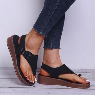 Women's Buckle Flip-Flops Flat Heel Sandals Platforms_4