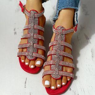 Women's Sequin Buckle Slingbacks Flat Heel Sandals_4