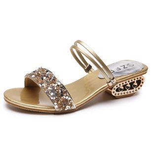 Women's Rhinestone Heels Chunky Heel Sandals_3