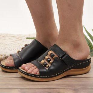 Women's Rhinestone Velcro Heels Wedge Heel Sandals_1