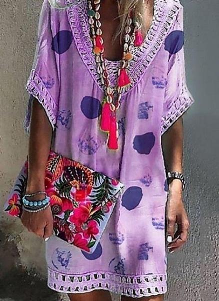 Purple Plus Size Tunic Geometric V-Neckline Casual Hollow Out Plus Dress_1