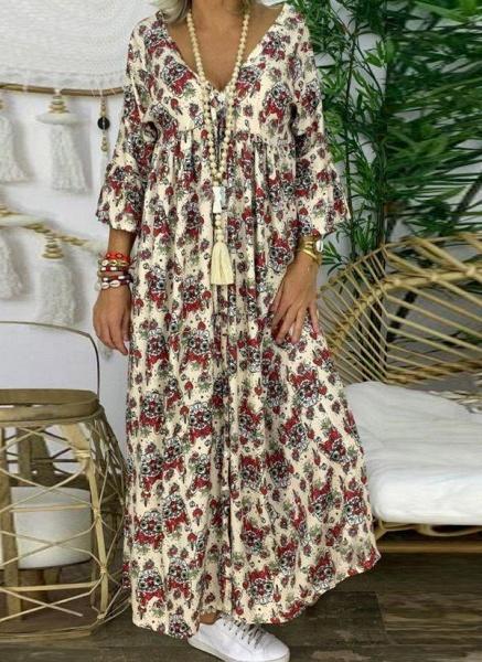 Apricot Plus Size Tunic Floral V-Neckline Casual Knee-Length Plus Dress_2