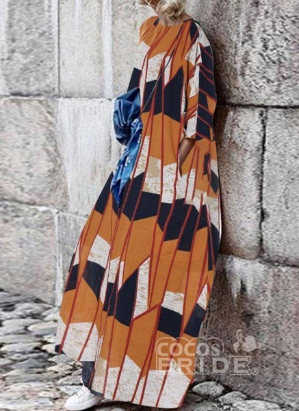 Multicolor Plus Size Tunic Color Block Round Neckline Casual Pockets Plus Dress_3