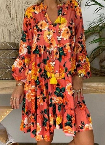 Green Plus Size Tunic Floral V-Neckline Casual Above Knee Plus Dress_4