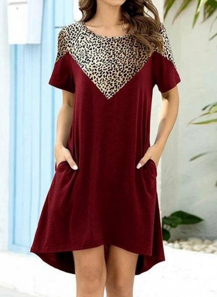 Burgundy Plus Size Tunic Leopard Round Neckline Casual Pockets Plus Dress_1