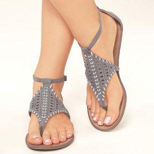 Women's Hollow-out Ankle Strap Flip-Flops Flat Heel Sandals_1