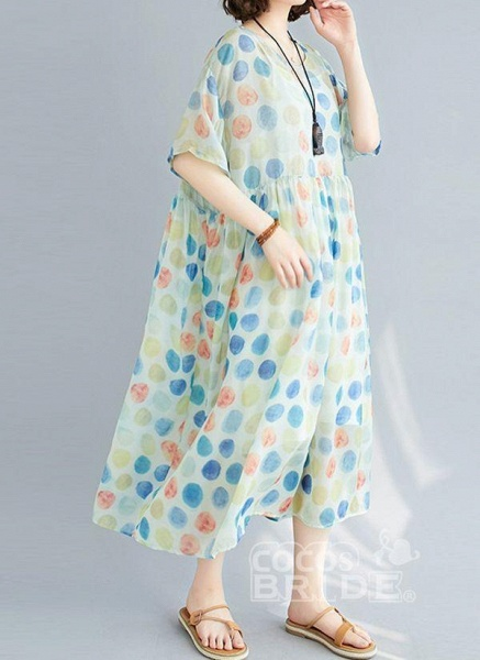 Multicolor Plus Size Tunic Polka Dot Round Neckline Casual Wrap Plus Dress_2