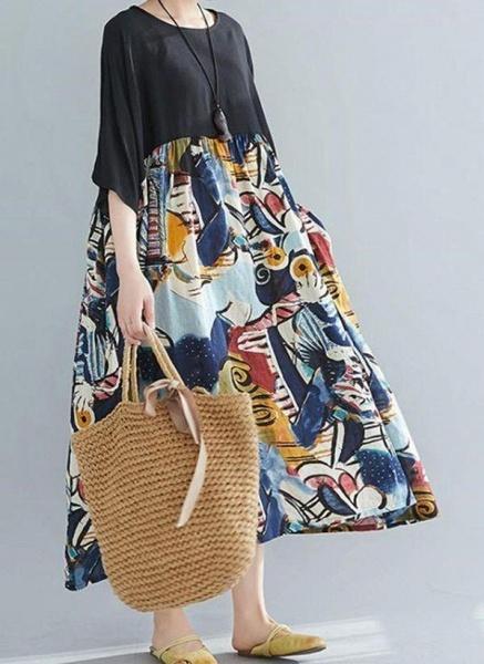 Black Plus Size Tunic Color Block Round Neckline Casual Pockets Plus Dress_1