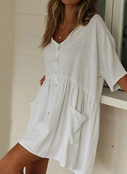 White Plus Size Tunic Solid V-Neckline Casual Pockets Buttons Plus Dress_4