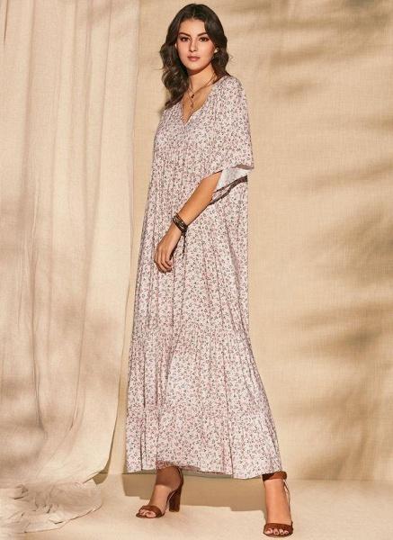Pink Plus Size Color Block V-Neckline Casual Maxi Shift Dress Plus Dress_1