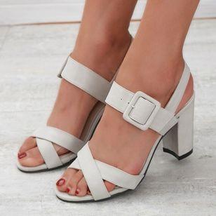 Women's Buckle Heels Nubuck Chunky Heel Sandals_5