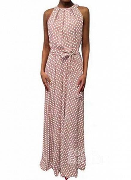Red Casual Polka Dot Sashes Round Neckline X-line Dress_2