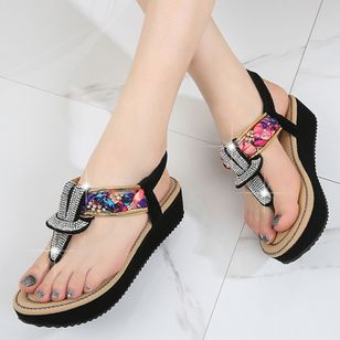 Women's Rhinestone Flip-Flops Flat Heel Sandals Platforms_1