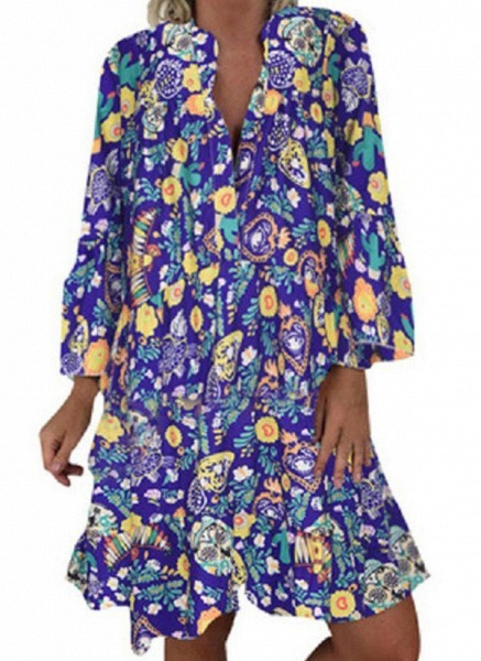 Green Plus Size Tunic Floral V-Neckline Casual Above Knee Plus Dress_6