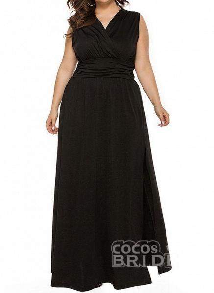 Blue Plus Size Solid V-Neckline Casual Ruffles Maxi Plus Dress_4