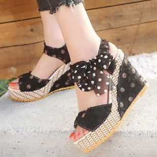 Women's Slingbacks Heels Cloth Wedge Heel Sandals Wedges_5