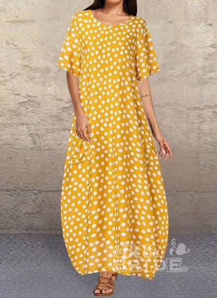 Dark Blue Tunic Polka Dot Round Neckline Casual Midi Plus Dress_7