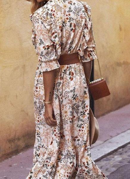 Apricot Boho Floral V-Neckline Maxi X-line Dress