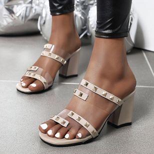 Women's Rivet Peep Toe Slingbacks Chunky Heel Sandals_3
