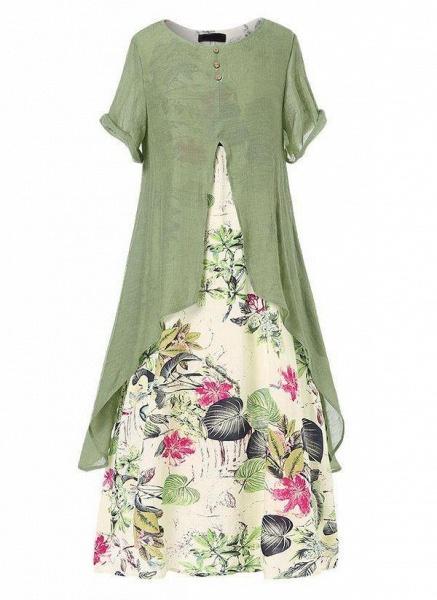 Green Plus Size Color Block Round Neckline Casual Buttons Maxi Plus Dress_1