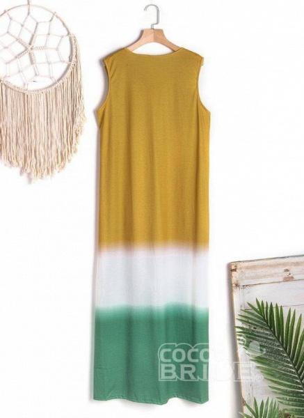 Gray Casual Color Block Tunic V-Neckline Shift Dress_5