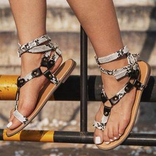Women's Leopard Buckle Toe Ring Flat Heel Sandals_4