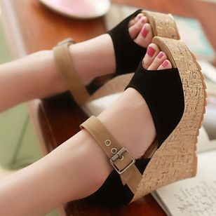 Women's Buckle Peep Toe Heels Nubuck Wedge Heel Sandals_3