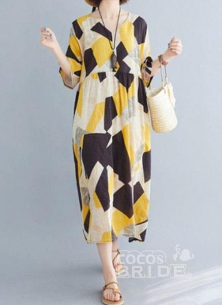 Yellow Plus Size Tunic Color Block V-Neckline Casual Midi Plus Dress_4