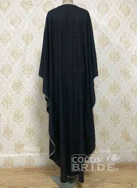 Black Plus Size Tunic Color Block Round Neckline Casual Rhinestones Plus Dress_2