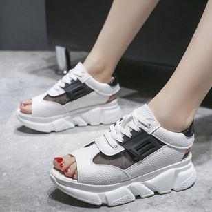Women's Lace-up Split Joint Flats Flat Heel Sandals_1