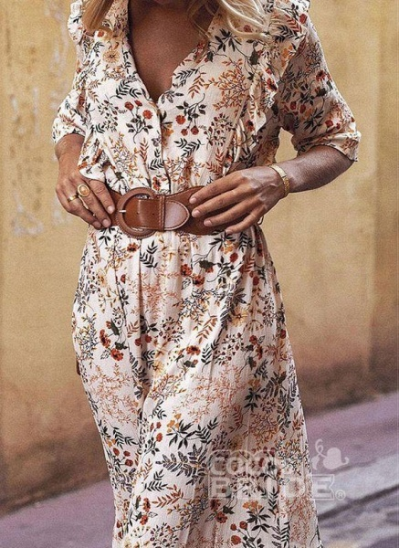 Apricot Boho Floral V-Neckline Maxi X-line Dress_2