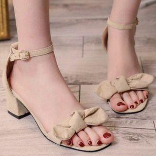 Women's Bowknot Buckle Heels Chunky Heel Sandals_3