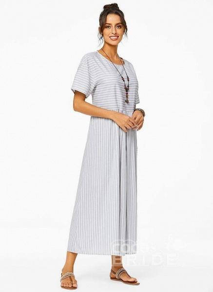 Plus Size Tunic Stripe Round Neckline Casual Pockets Plus Dress_2