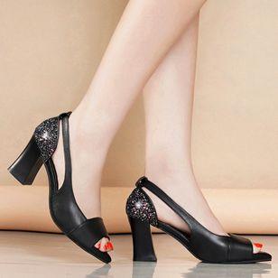 Women's Sequin Heels Spool Heel Sandals_6