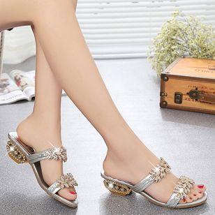 Women's Sequin Flower Slingbacks Low Heel Sandals_2