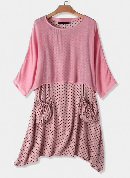 Casual Polka Dot Tunic Round Neckline Shift Dress_5