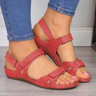 Women's Velcro Slingbacks Nubuck Flat Heel Sandals_3