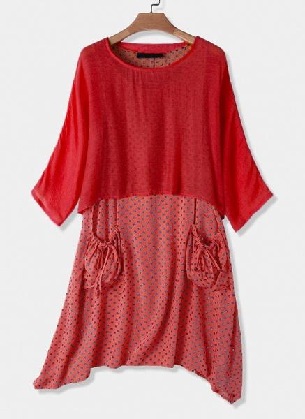 Casual Polka Dot Tunic Round Neckline Shift Dress_4