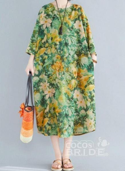 Plus Size Tunic Floral Round Neckline Casual Plus Dress_4