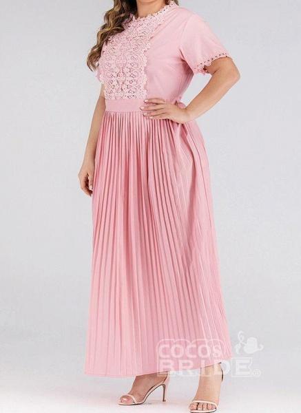 Pink Plus Size Solid Round Neckline Elegant Lace Maxi Plus Dress_2