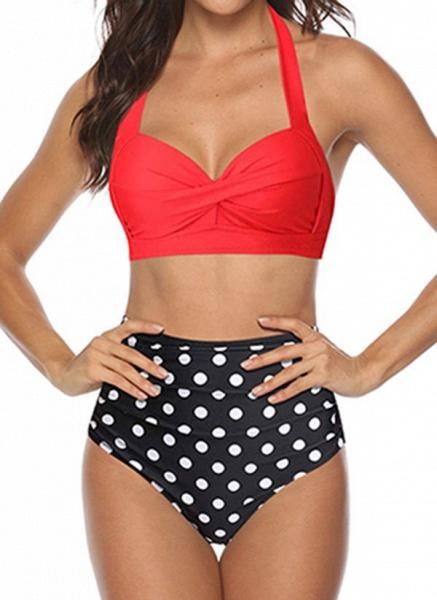 Polyester Halter Pattern Bikinis Swimwear_3