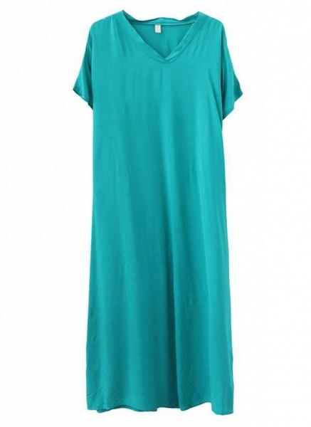 Royal Blue Plus Size Tunic Solid V-Neckline Casual Maxi Plus Dress_5